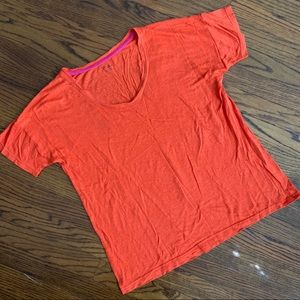 Madewell Linen T-Shirt in Bright Red